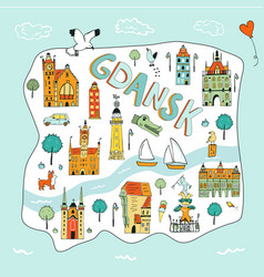 Hand drawn map gdansk poland vector