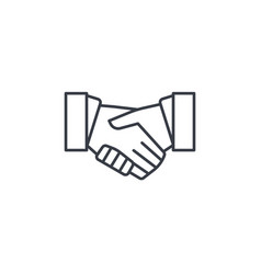 Handshake thin line icon linear symbol vector