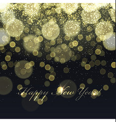 Happy New Year Golden Lights Background Snowflakes vector image