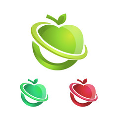 Healthy and colorful apple logo or icon vector