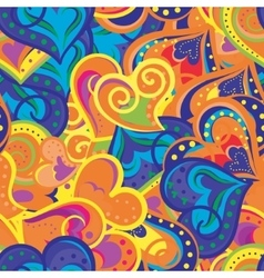Heart blue orange and yellow pattern vector