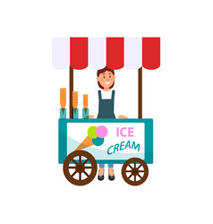 Ice cream cart and young girl street seller vector