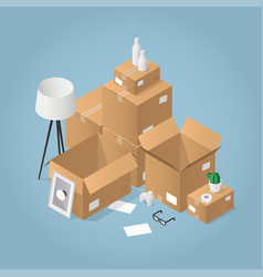 Isometric moving to new house vector