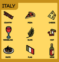 italy color outline isometric icons vector image
