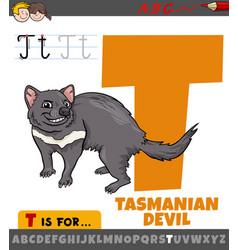 Letter t from alphabet with cartoon tasmanian vector