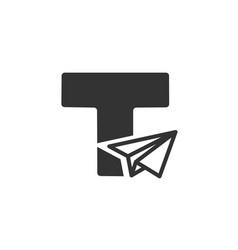 Letter t with paper plane logo vector