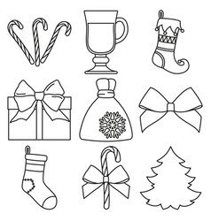 line art black and white 9 new year elements set vector image
