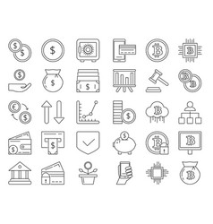 linear icons set money and business symbols vector image
