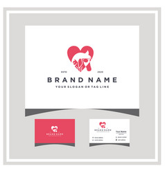 Love dog horse cat logo design and business card vector