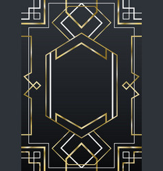 Luxury gold and black art deco frame background vector