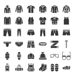 male clothes and accessories solid icon set 2 vector image