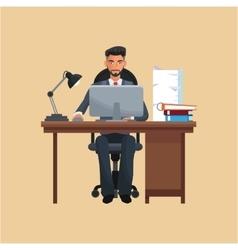 Man business office sitting work laptop desk books vector