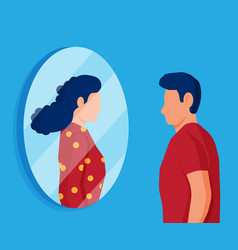 man transgender looking in mirror and seeing woman vector image
