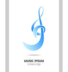 Musical logo treble clef vector image