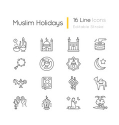 Muslim holidays linear icons set vector