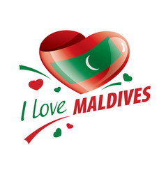 National flag maldives in shape a vector