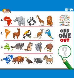 Odd one out picture game with animal species vector