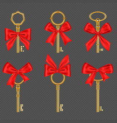 old gold keys with tied red bow vector image