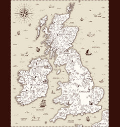 Old map great britain vector