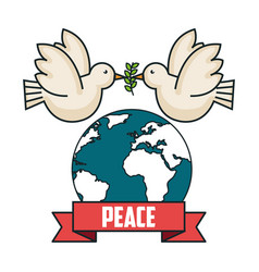 Peace world dove fly branch postcard modern style vector