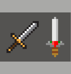 pixel game mosaic falchion blade sign vector image