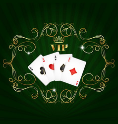 playing cards vip design vector image