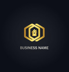 polygon home realty company gold logo vector image