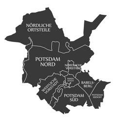 Potsdam city map germany de labelled black vector