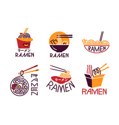 Ramen meal cooking lettering icons set asian vector