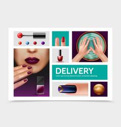 realistic nail polish elements set vector image