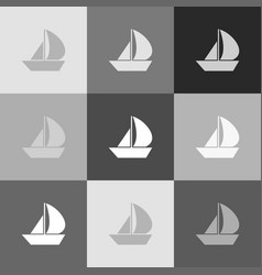 sail boat sign grayscale version of vector image