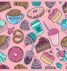 seamless pattern with candy donuts sweet icecream vector image