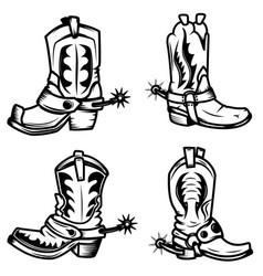 set cowboy boots design elements for logo vector image