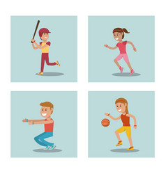 Set kids playing physical education school sport vector