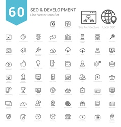 Set of bold stroke seo and development icons vector