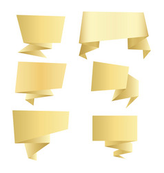 set of gold banners vector image
