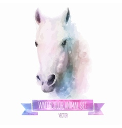Set of watercolor Cute horse vector