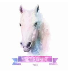 set watercolor cute horse vector image