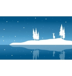 Silhouette of chrismas deer and spruce winter vector image