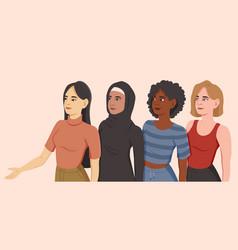 sisterhood concept with four diverse women vector image