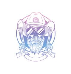 Sketch skull with cowboy hat vector