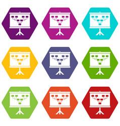 Soccer or football field scheme icon set color vector