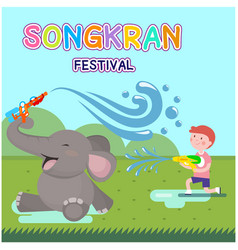 Songkran festival kid playing water with elephant vector