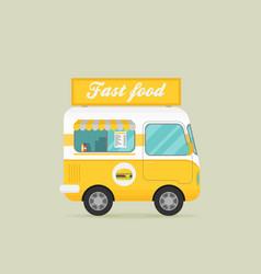 Street food truck food caravan burger van vector