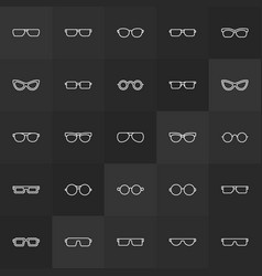 Sunglasses and glasses outline icons vector