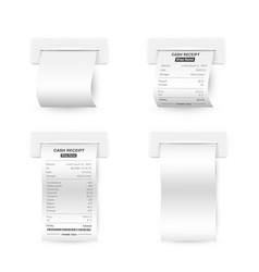 till receipts and white empty printed templates vector image