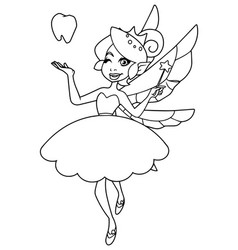 tooth fairy line art vector image