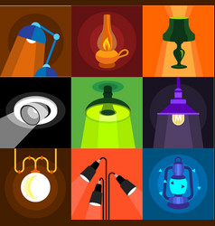 Various of light icons set flat style vector