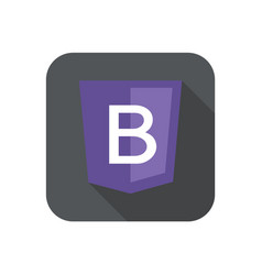 Web development shield sign letter b violet vector