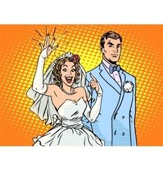Wedding groom and happy bride vector